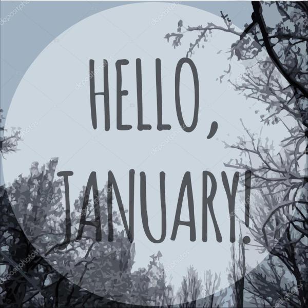 Hello january. Winter vector illustration — Stock Vector ...