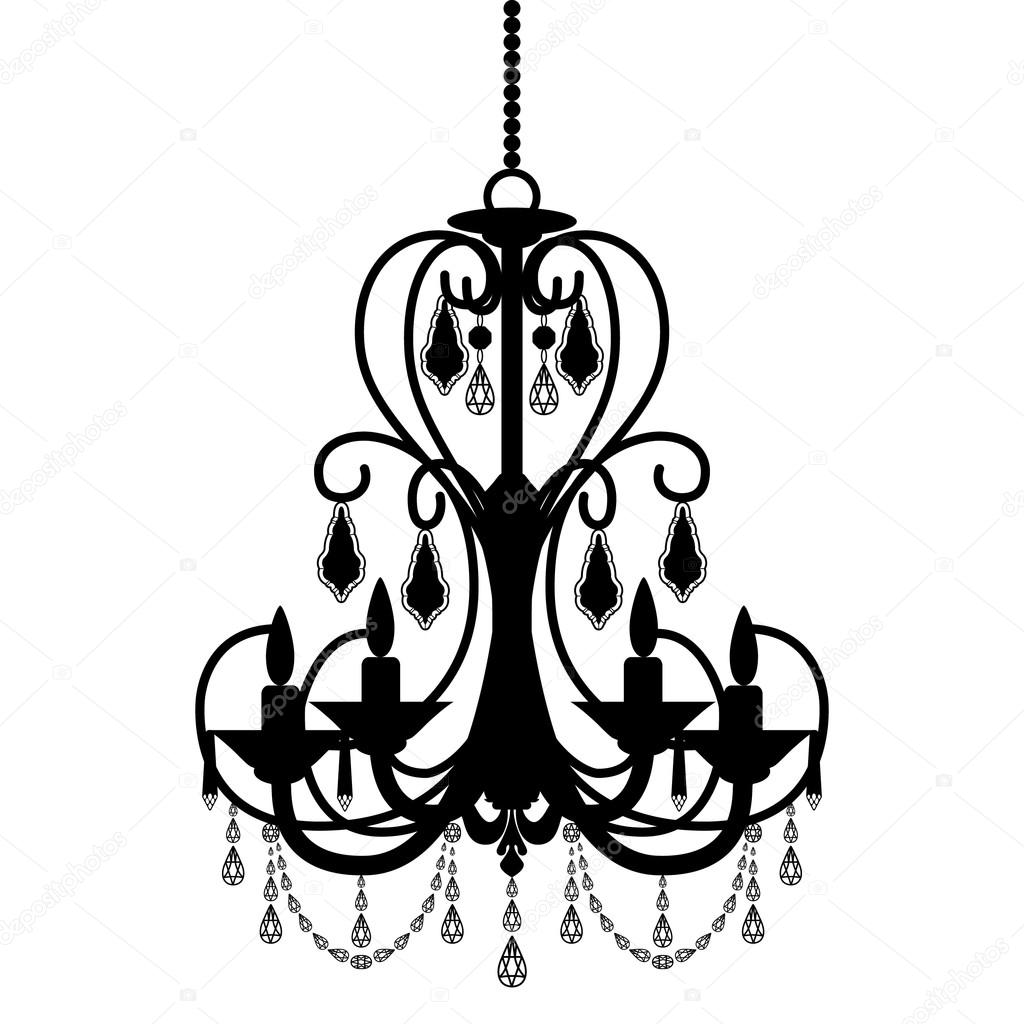 Chandelier Silhouette Isolated On White Background