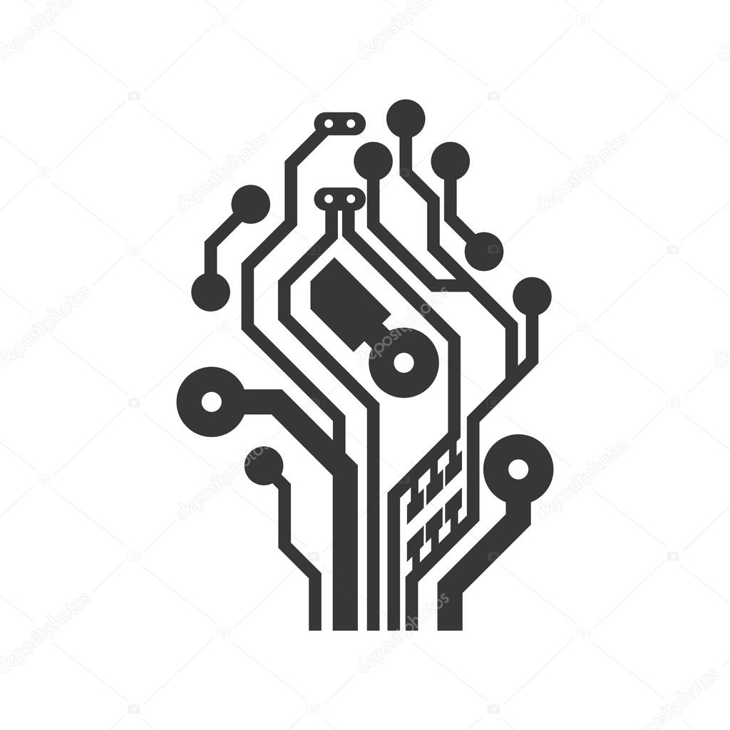 Circuit Board Icon Technology Design Vector Graphic