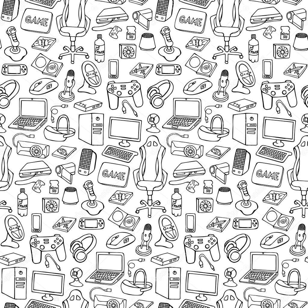 Gamer Doodle Seamless Pattern