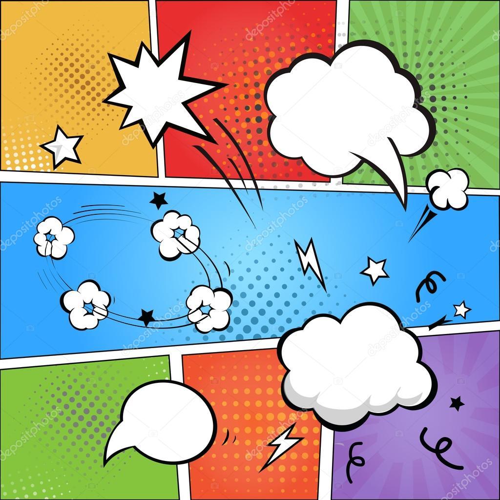 Comics Und Comic Sprechblasen Auf Bunten Halbton