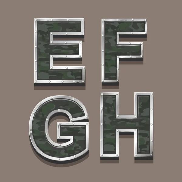 Военные букв алфавита. Стальные металлические хаки шрифт ...