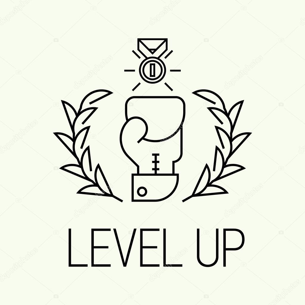 Trendy Level Up Minimalistic Icon