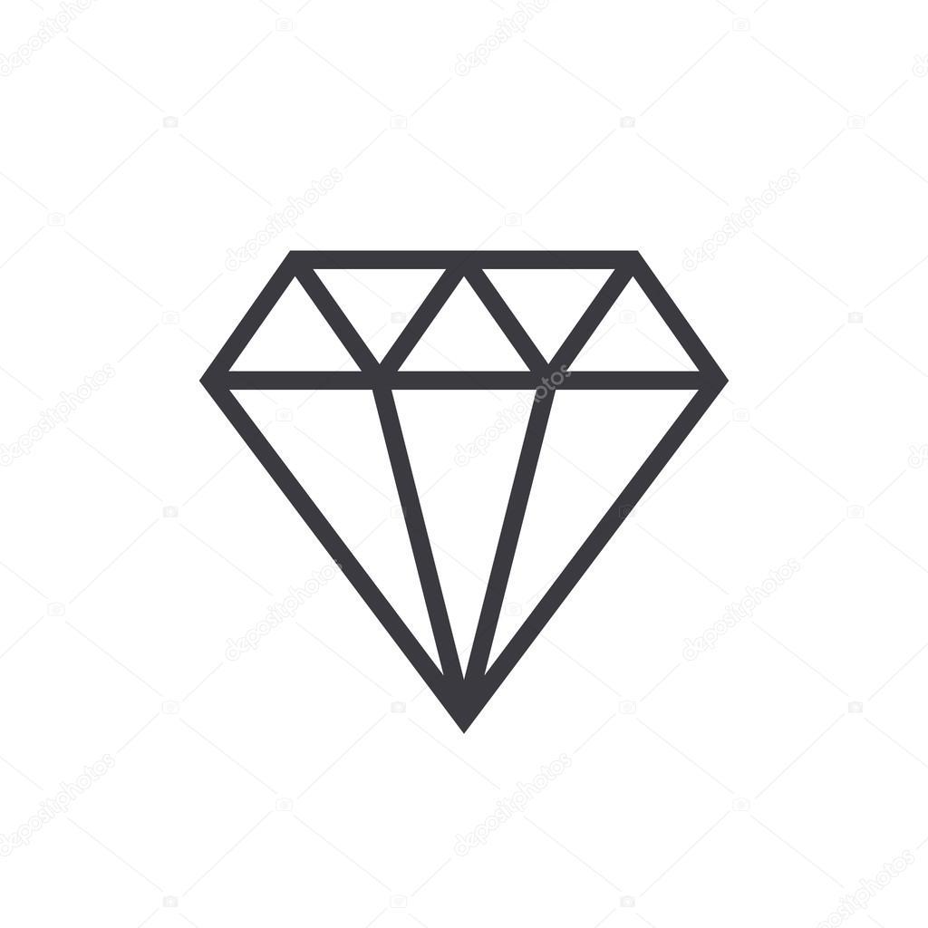 Diamond Outline Icon Modern Minimal Flat Design Style