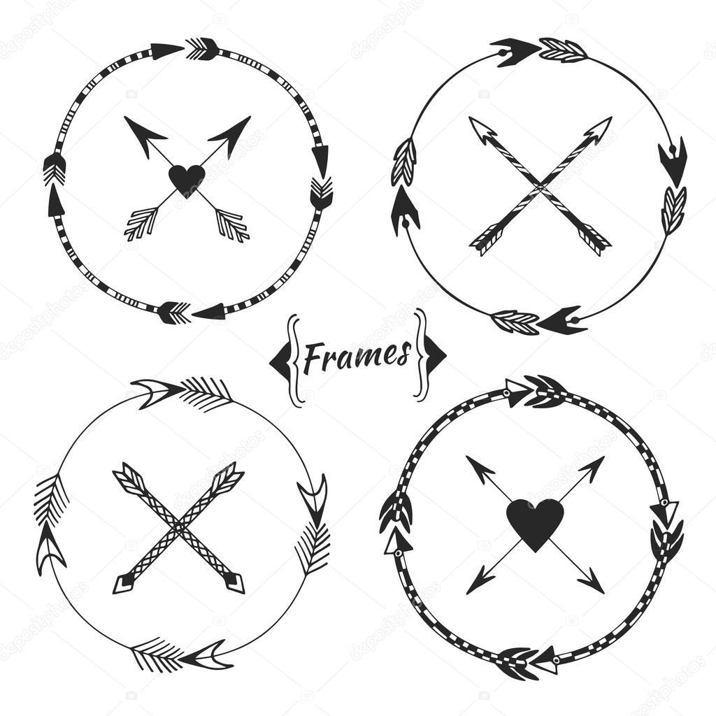Set Of Arrow Frames Tribal Border