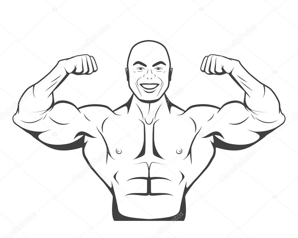 Homem Forte Fisiculturista Com Abs Perfeito Ombros
