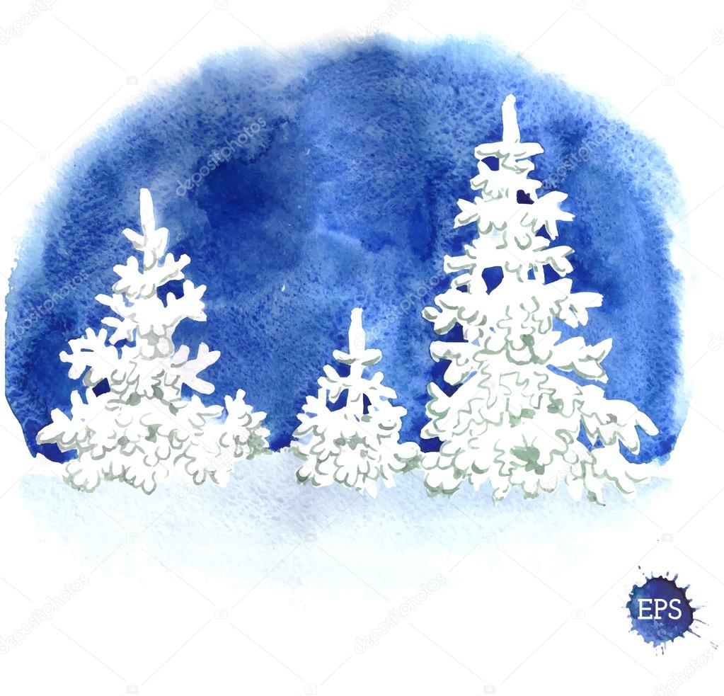 Hand Painted Watercolor Illustration Of Winter Forest