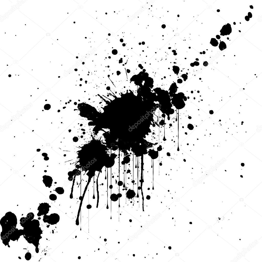 Vektor Splatter Schwarzer Farbe Hintergrund Abbildung
