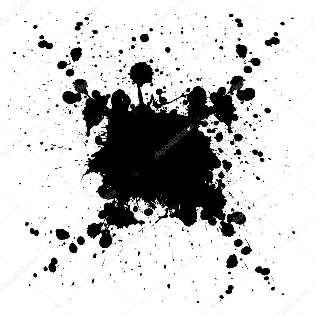 Abstract Vector Splatter Black Color Background