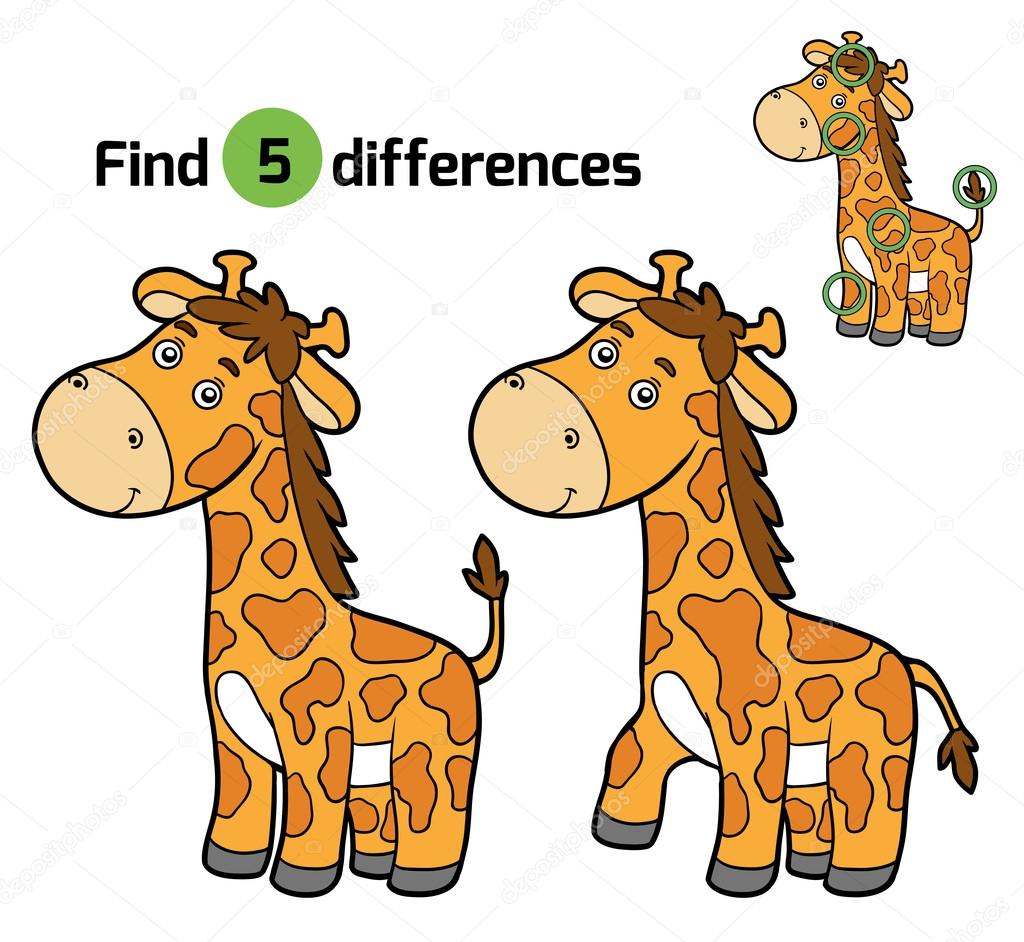 Find Differences Game For Children Giraffe