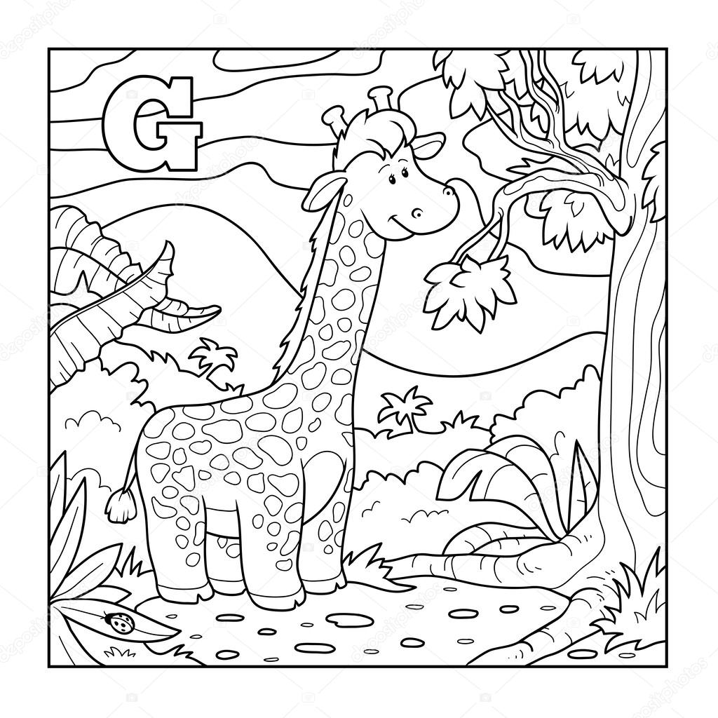 Coloring Book Giraffe Colorless Alphabet For Children
