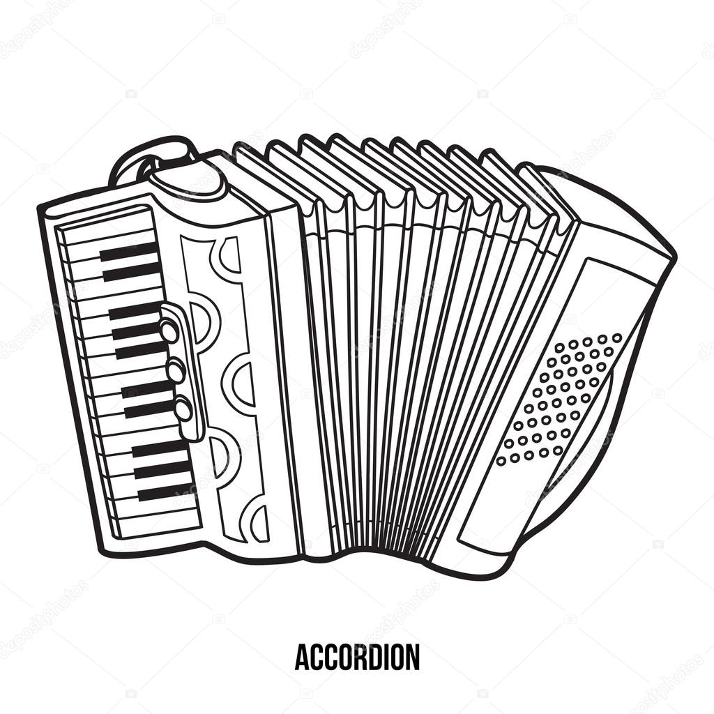 Coloring Book For Children Musical Instruments Accordion