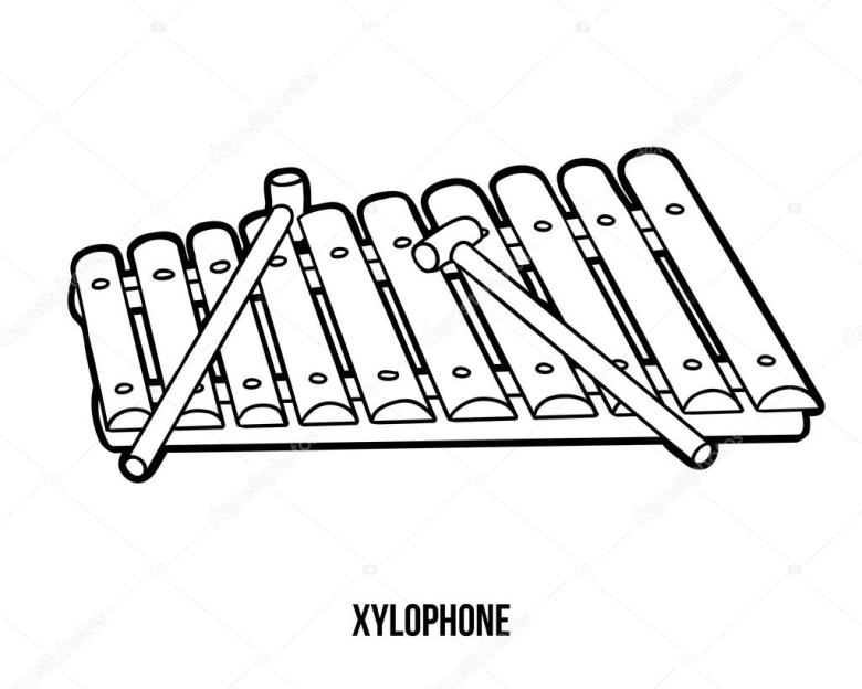 coloring book: musical instruments (xylophone) — stockvektor