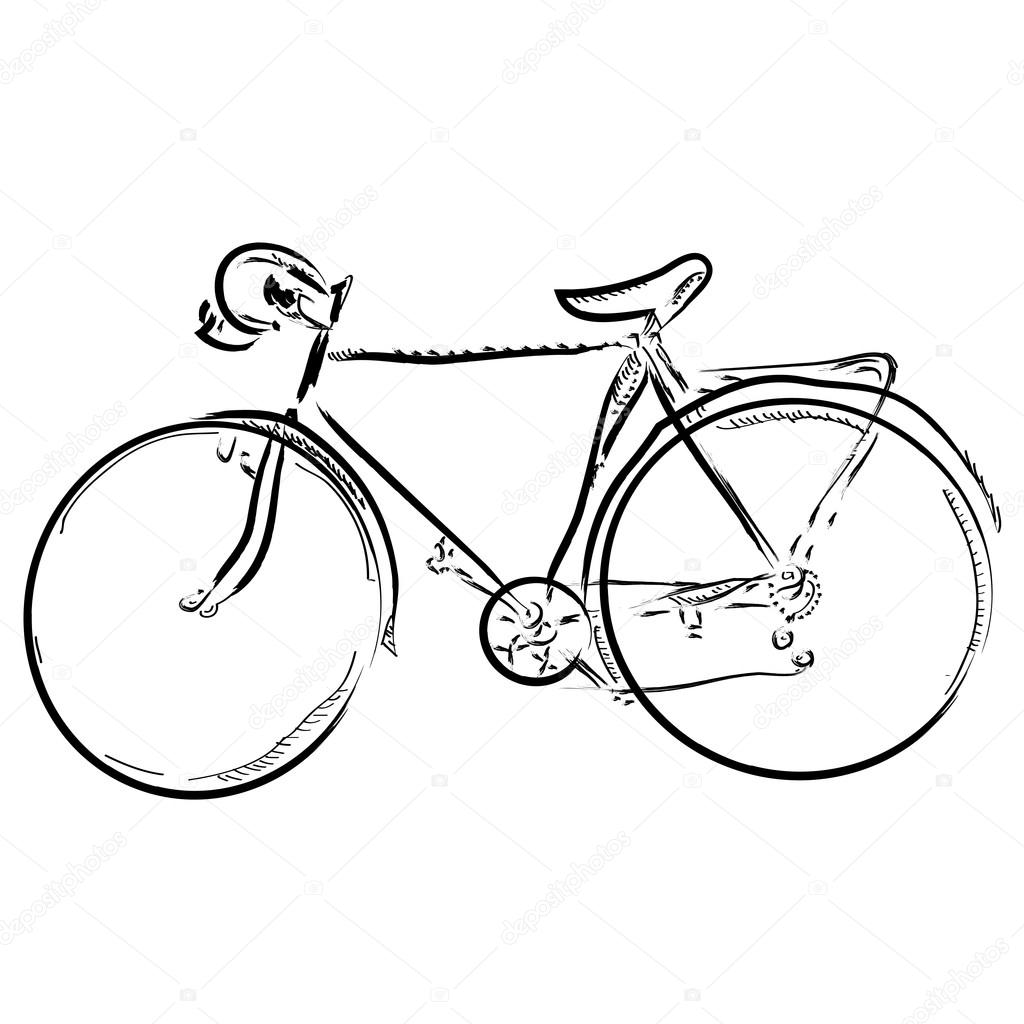 Hand Draw Simple Sketch Bike Vector Illustration Can Be