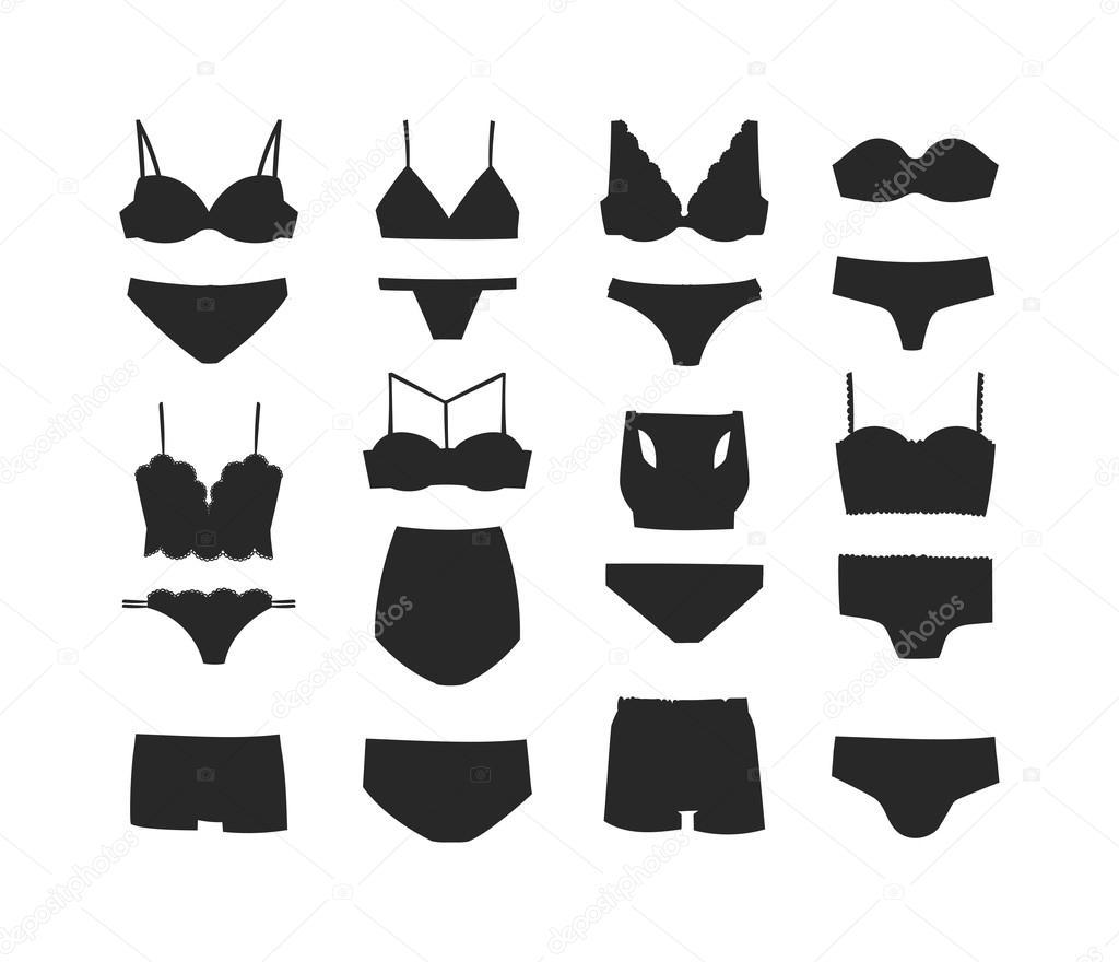 Underwear Black Silhouette Isolated Vector Set