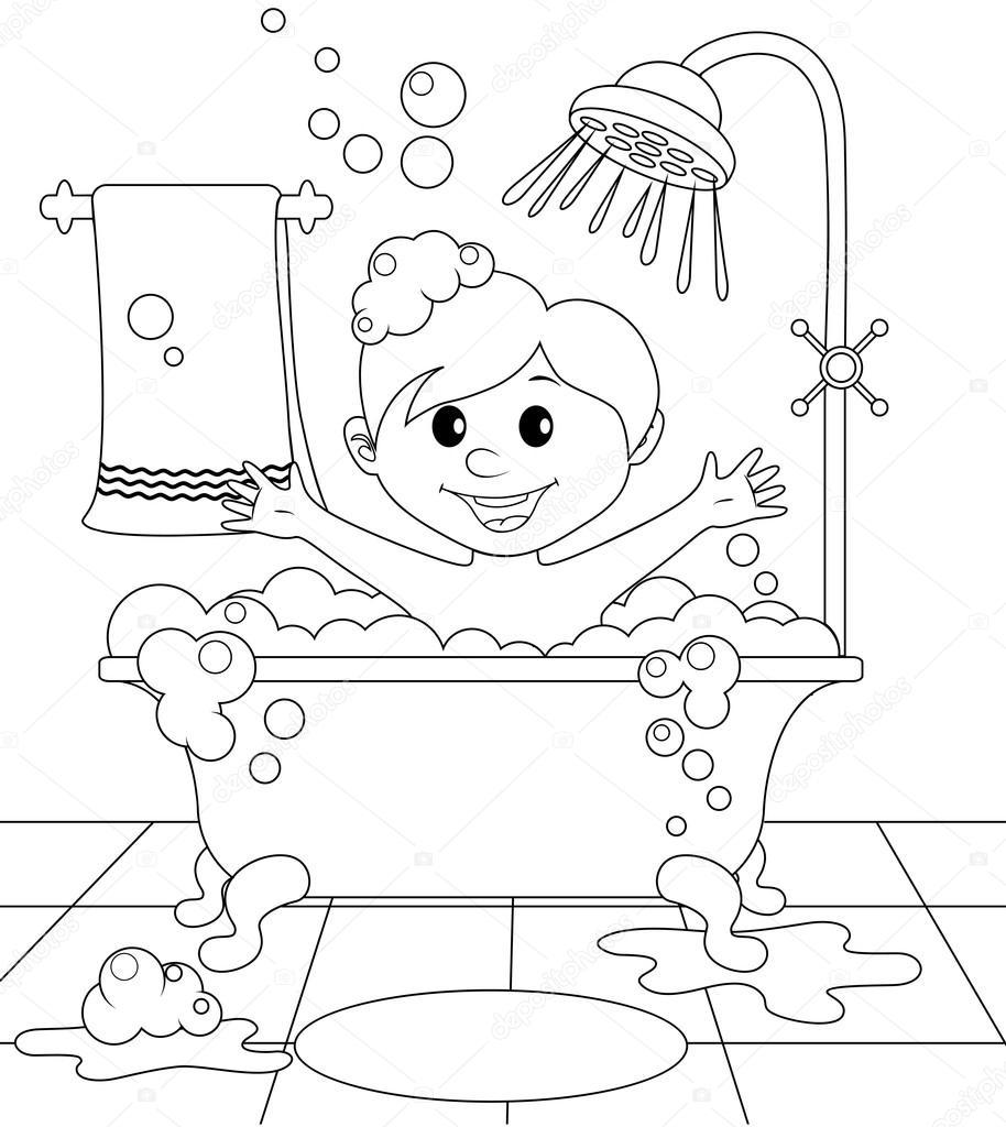 garcon dans la salle de bain 116999680