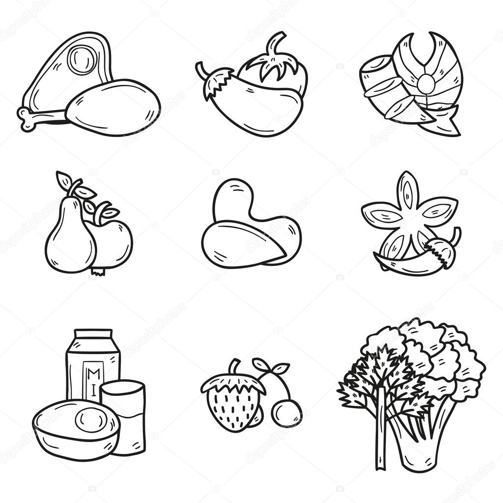 Set Of Objects In Hand Drawn Outline Style On Paleot