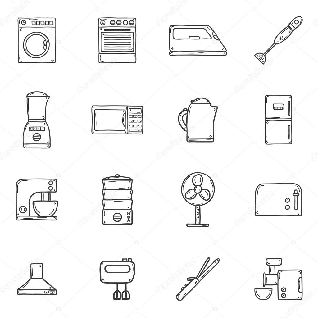 Set Of Objects In Hand Drawn Cartoon Outline Style On Home