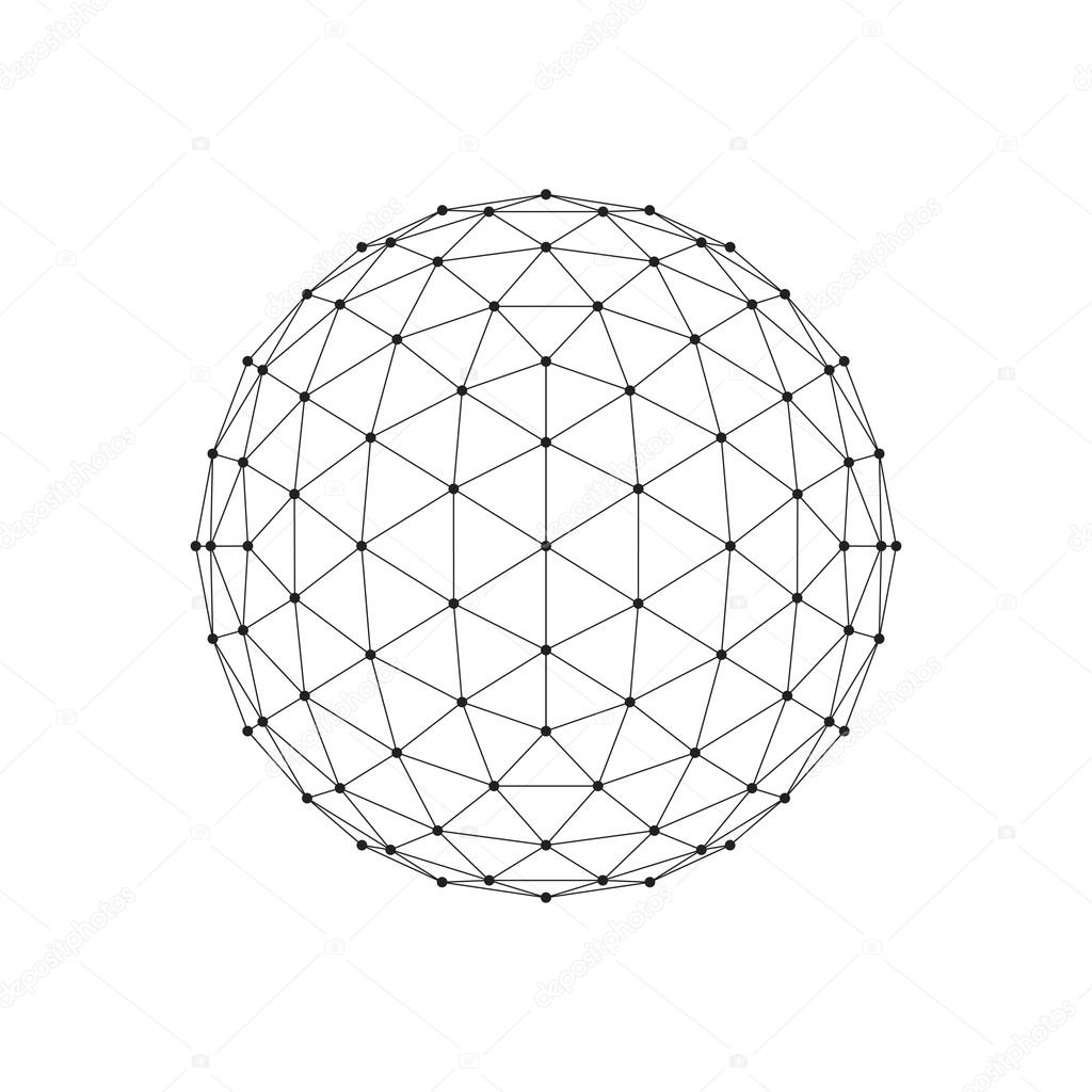 3d Icosahedron Wireframe Mesh Sphere Network Line Hud