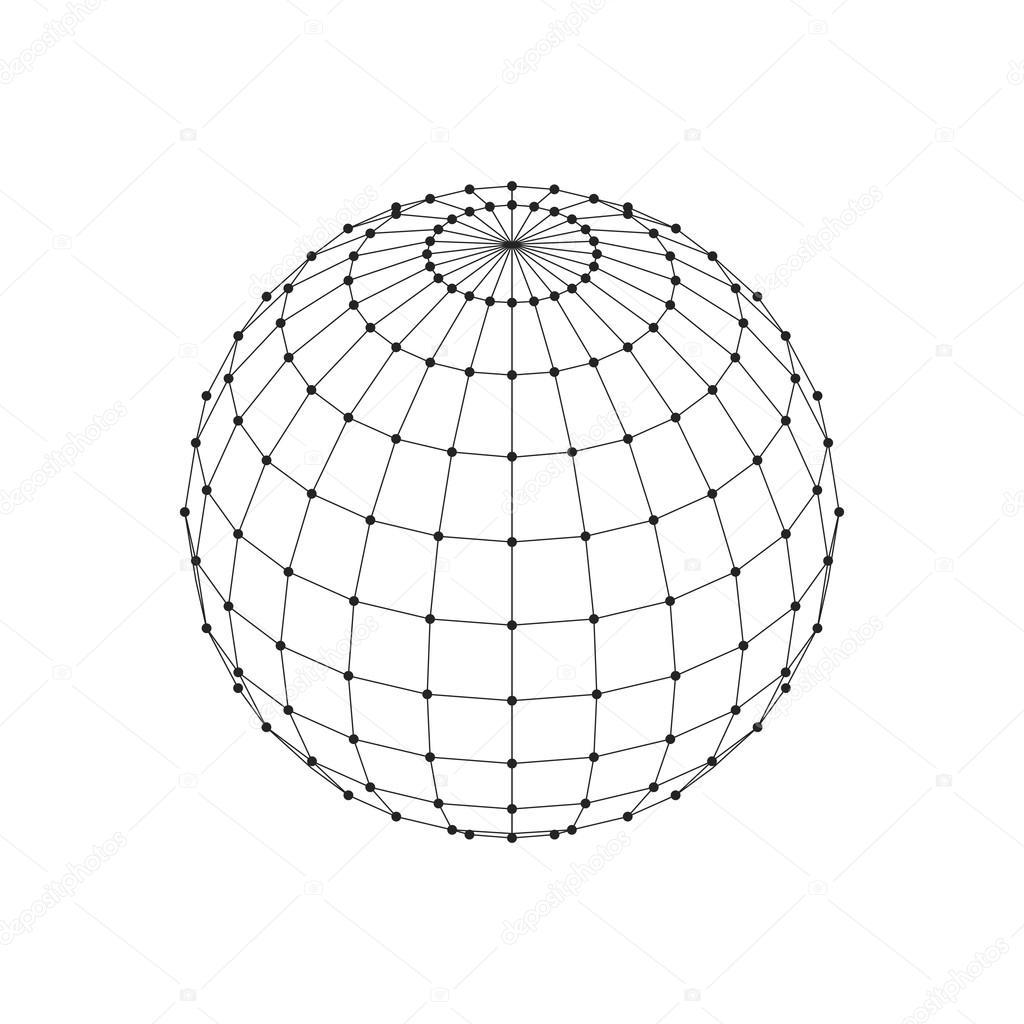 Wireframe 3d Mesh Polygonal Sphere Network Line Hud