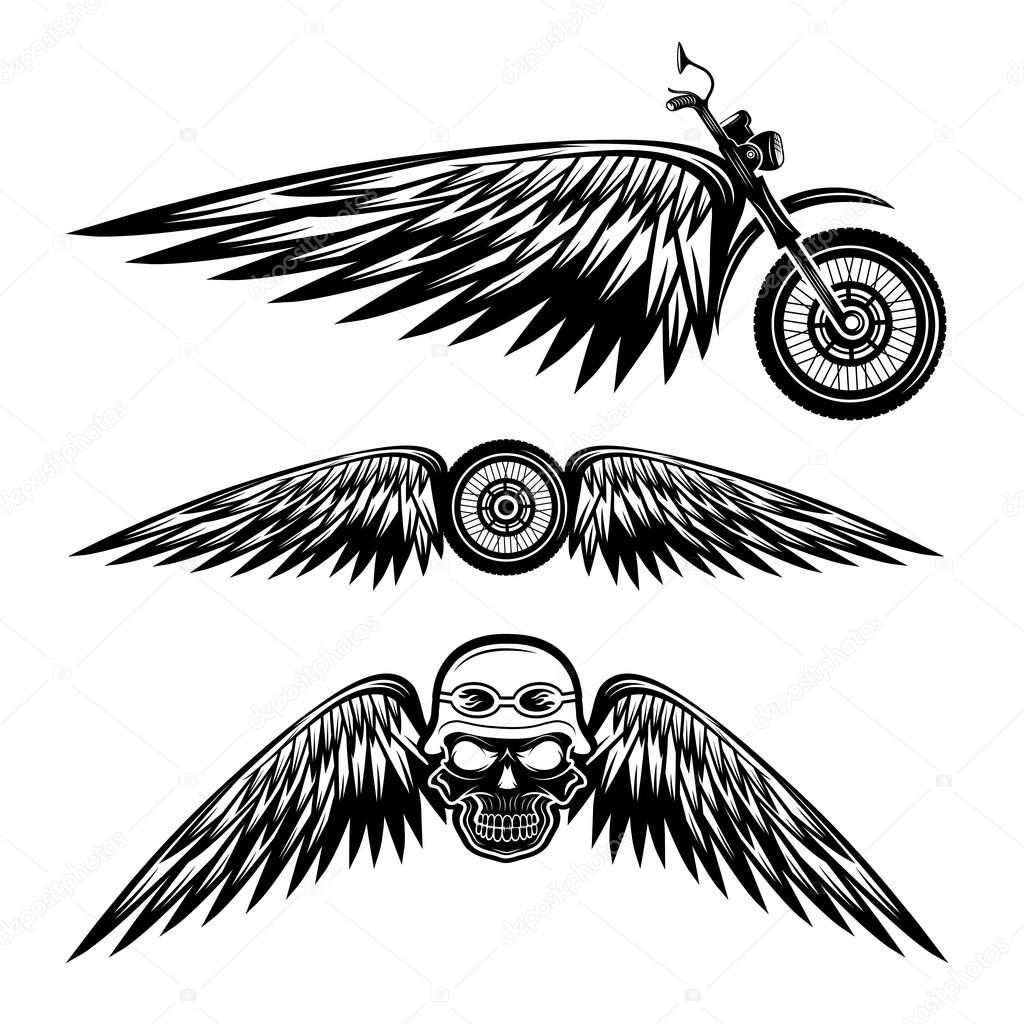 Biker Theme Labels With Wheel Bike And Skulls With Wings