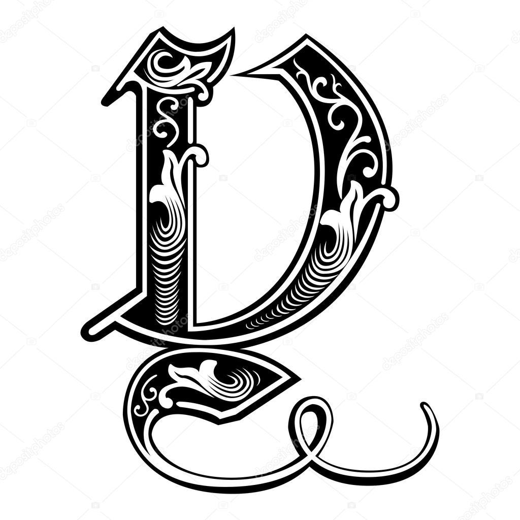 Alfabeto Ingles Bonita Decoracion Estilo Gotico Y Carta