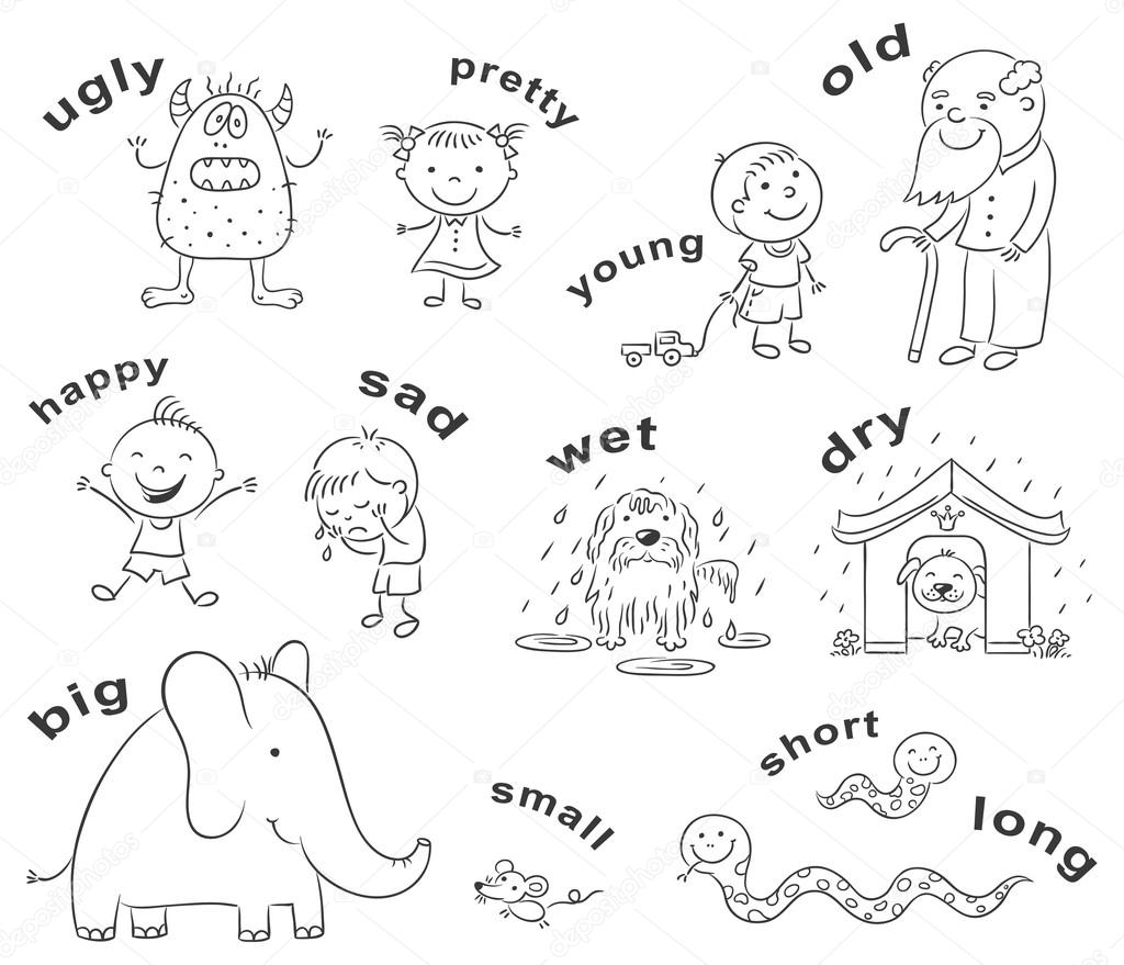 Antonyms Cartoons Black And White