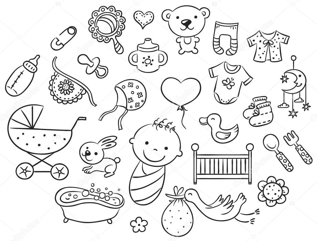 Conjunto De Beb De Dibujos Animados Contorno De Blanco Y