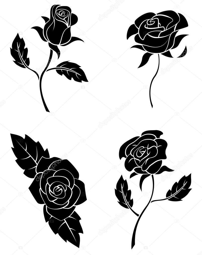玫瑰花的黑色剪影集合 — 圖庫矢量圖像© funwayillustration #61099015