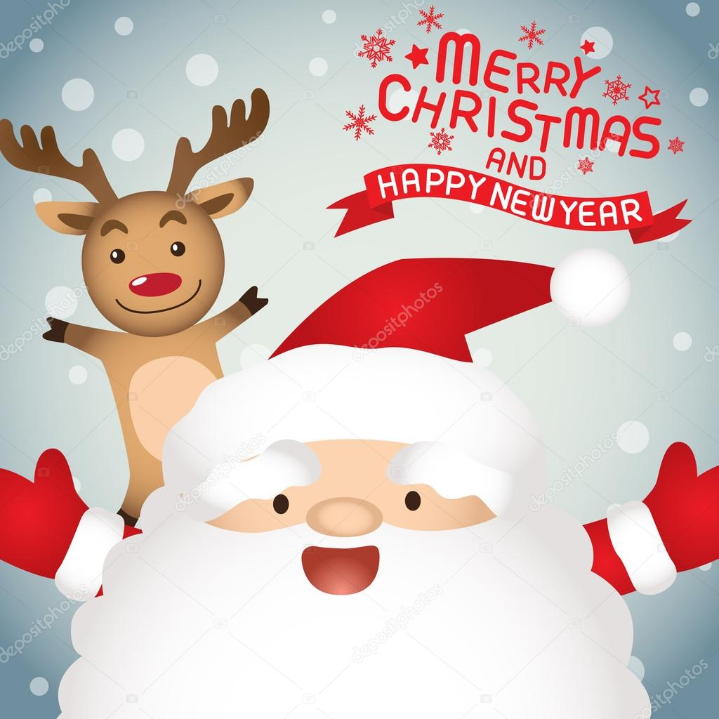 Merry Christmas And Happy New Year Santa Claus And