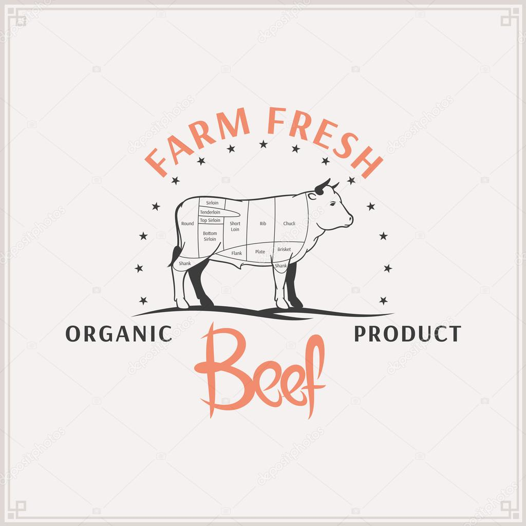 Butcher Shop Logo Meat Label Template Beef Cuts Diagram