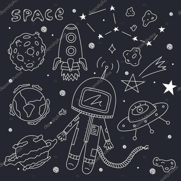 Astronaut with planets and asteroids — Stock Vector ...