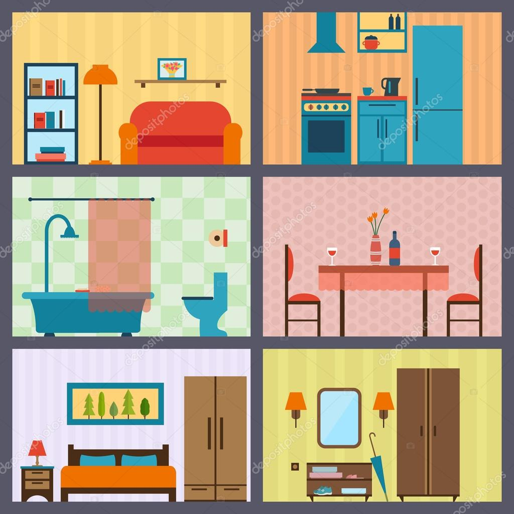 House Rooms With Furniture Icons