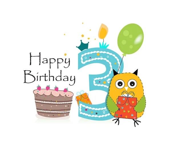 Happy Third Birthday With Animals Baby Boy Greeting Card