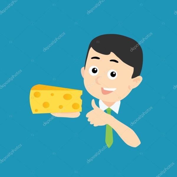 Счастливый человек с сыром — Вектор: изображение, рисунок ...