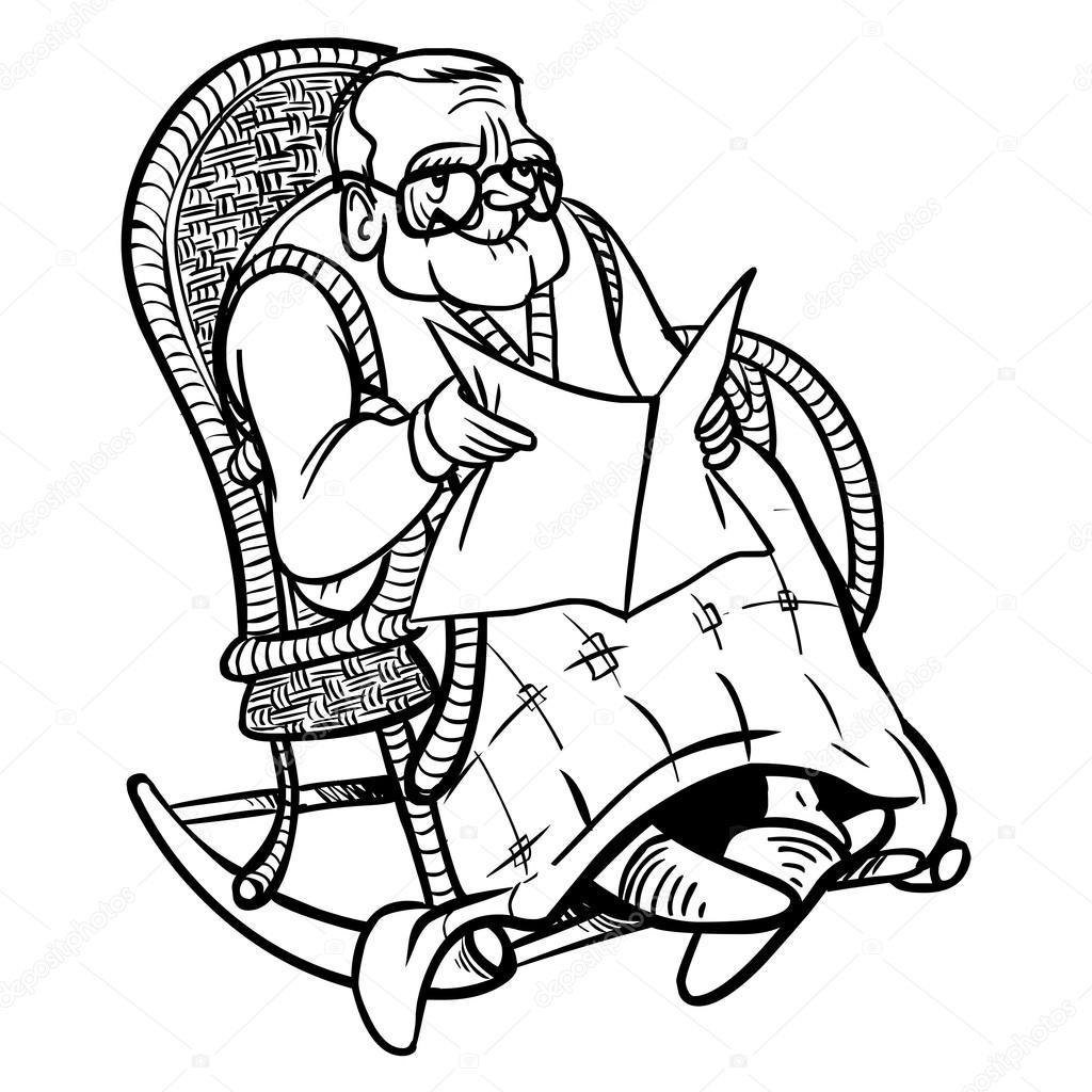 Lustige Cartoon Opa Vektor Illustration