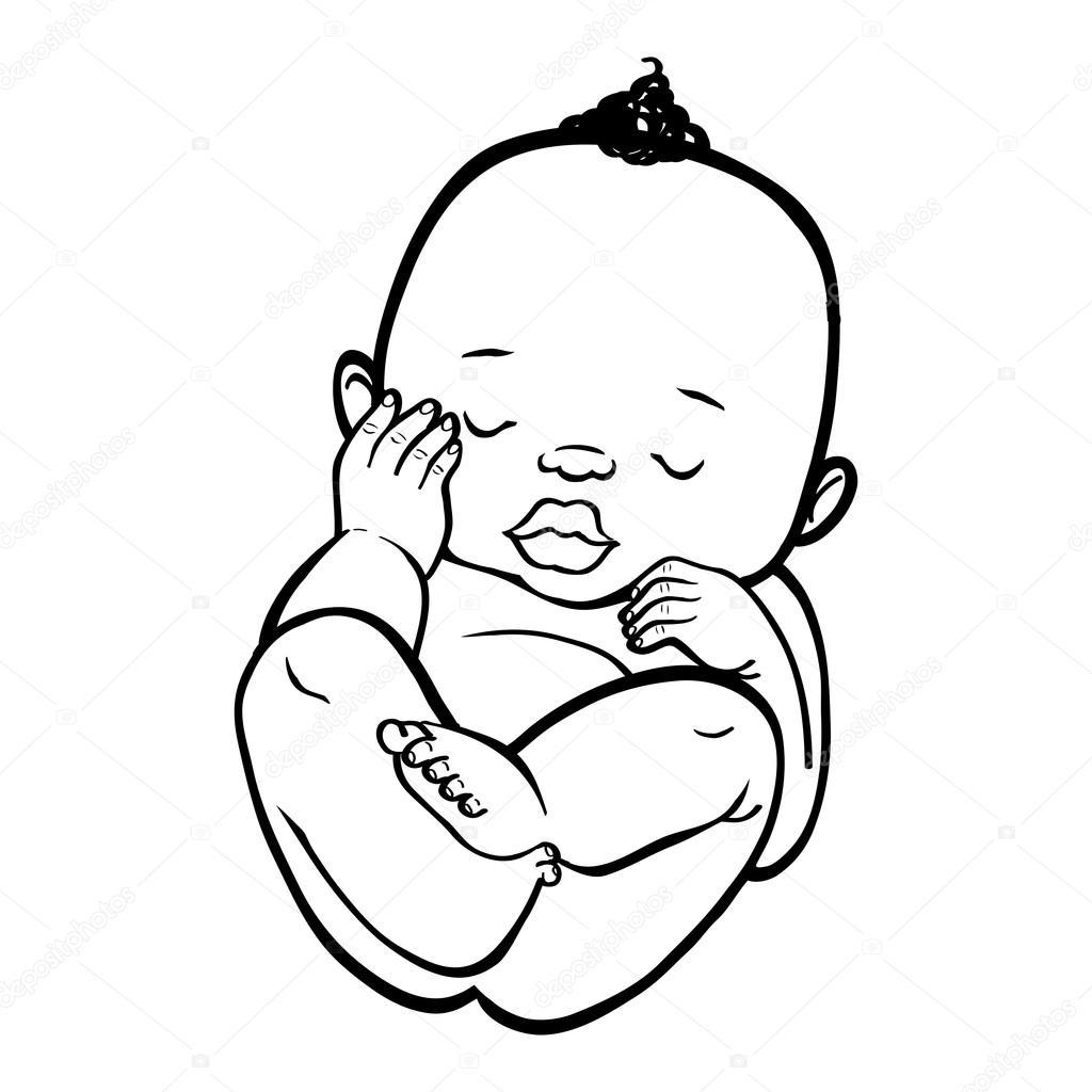 Bambino Africano Piccolo Neonato Che Dorme Immagine