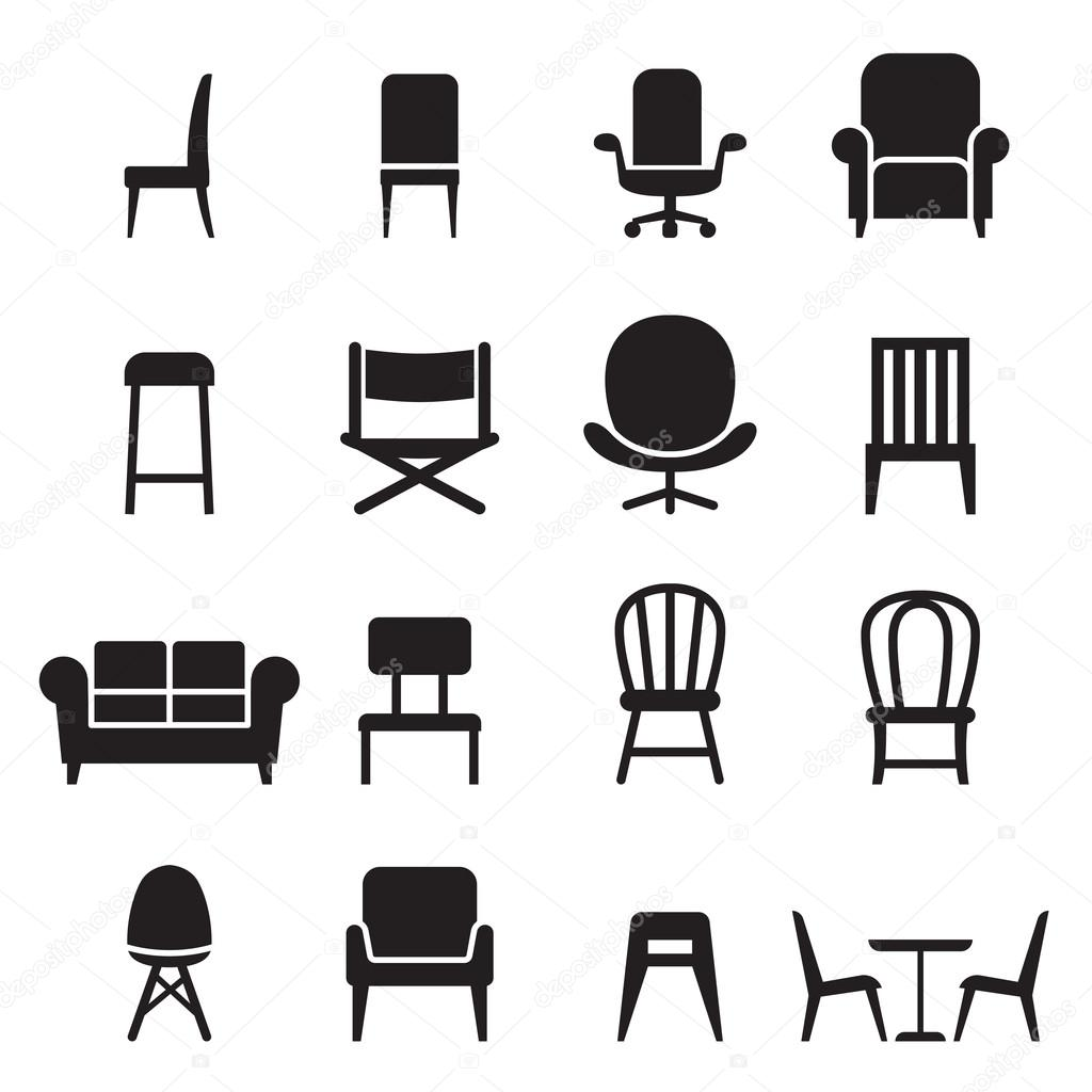 Chair Amp Seating Icons Set Vector Illustration Front Side