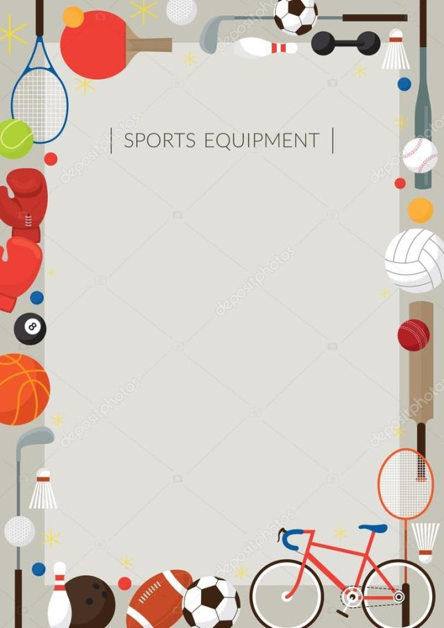 a21bbf3fc8af Sports Equipment Flat Icons Poster Frame Stock Vector Muchmania