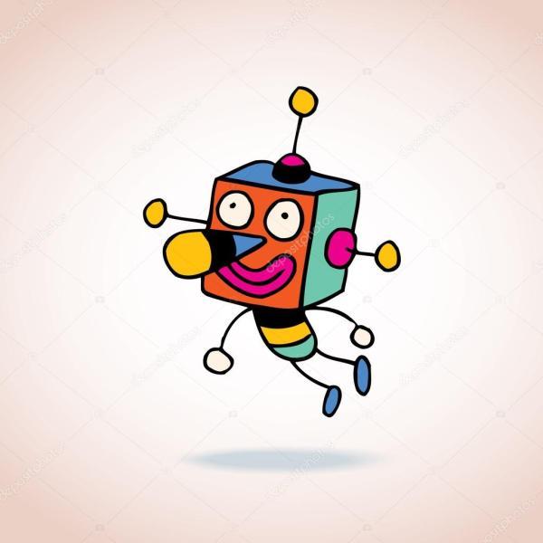 робот персонажа из мультфильма — Векторное изображение ...