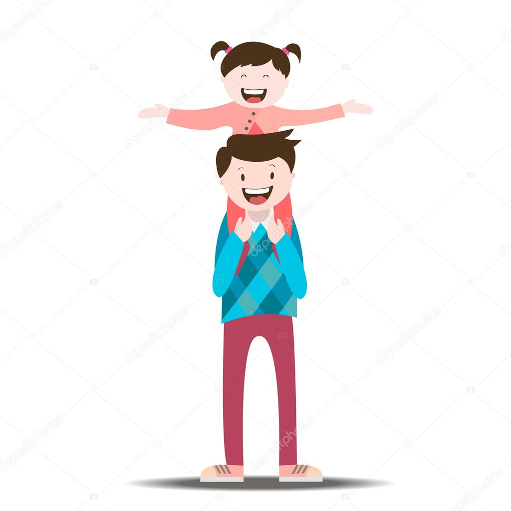 A simple drawing to help you draw a family together. Dad carries daughter on his shoulders , father and