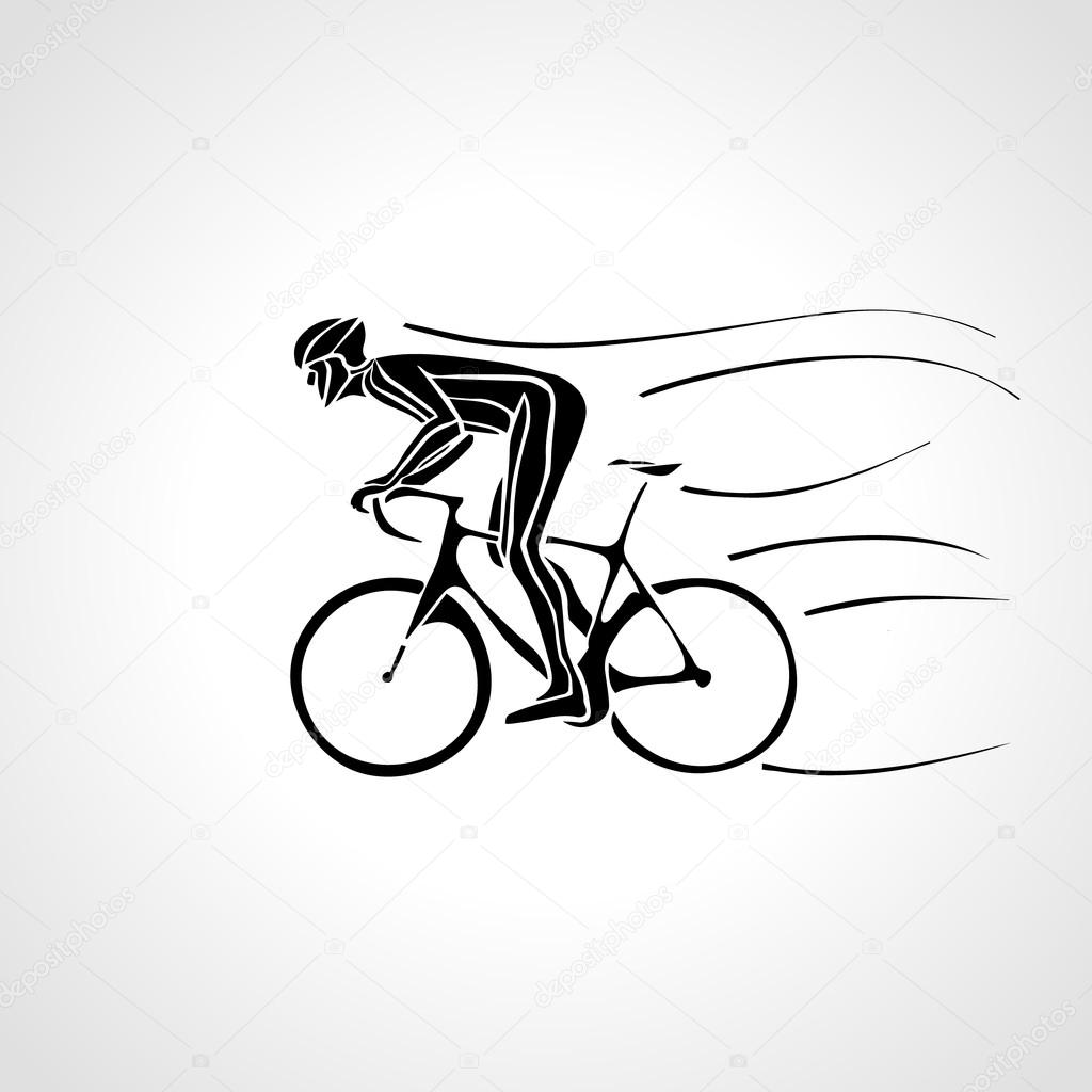 Abstract Silhouette Of Bicyclist Black Bike Cyclist Logo