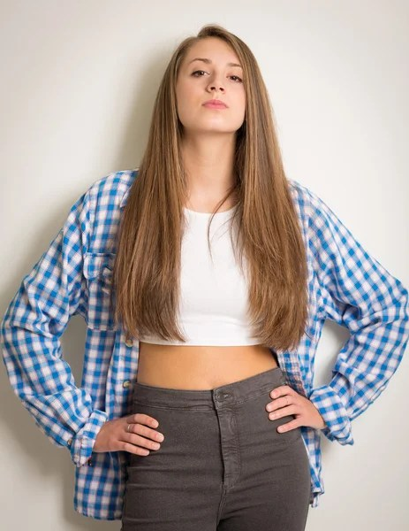 Beautiful Teen Girl in a White Top and Blue Shirt — Stock ... on Beautiful Teen Girl  id=36658