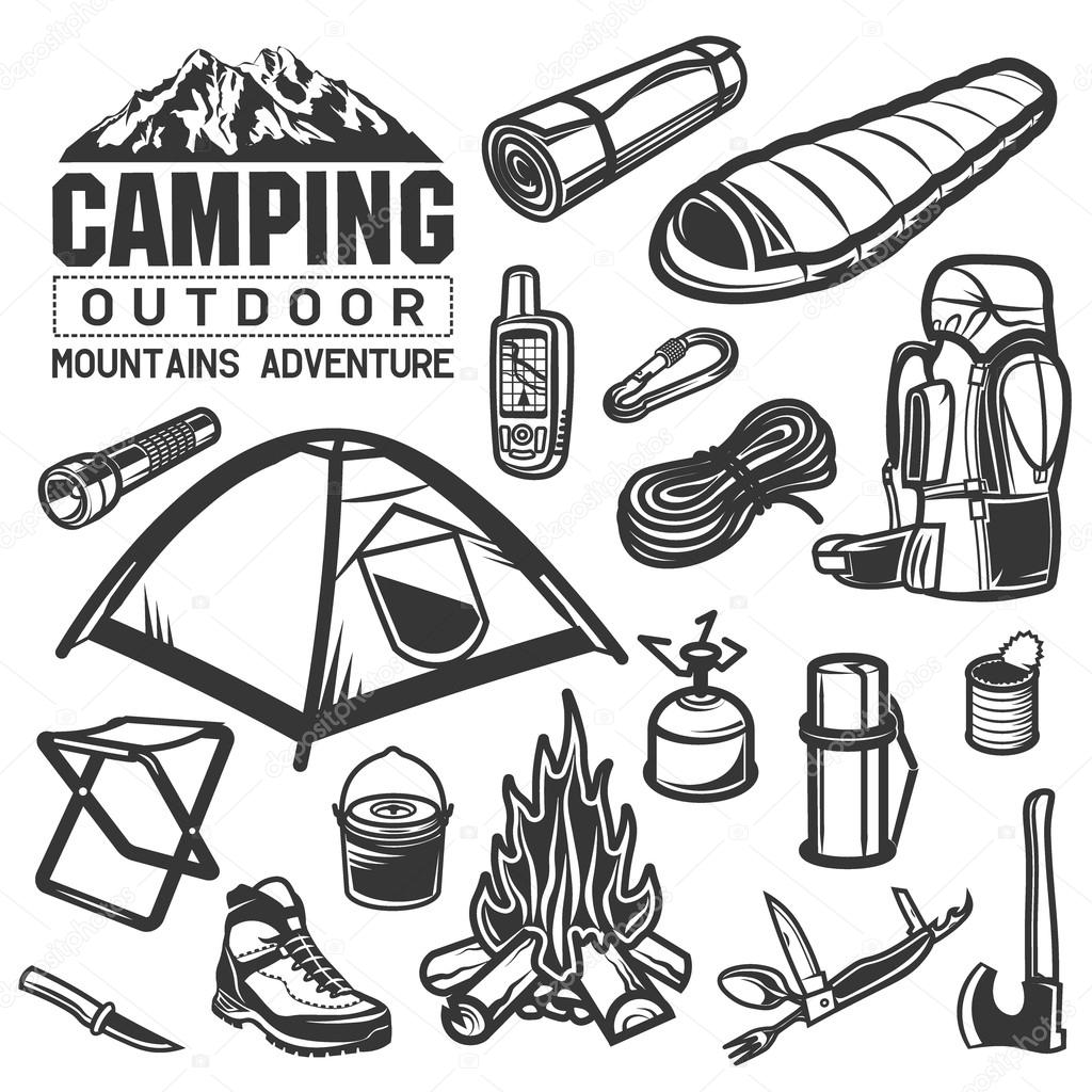 Camping And Hiking Equipment Symbols Tent Logo Backpack