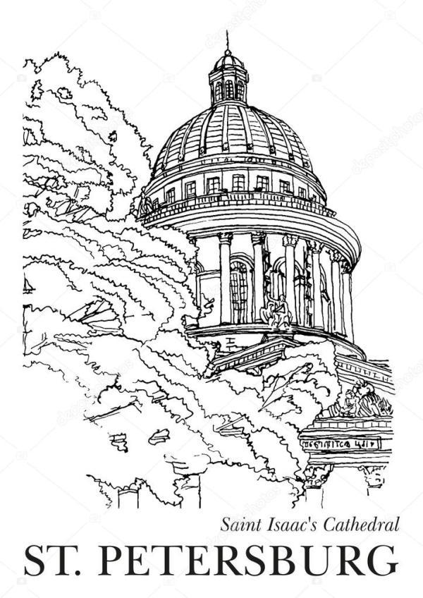 Санкт-Петербург, Россия - Исаакиевский собор. Нарисованный ...