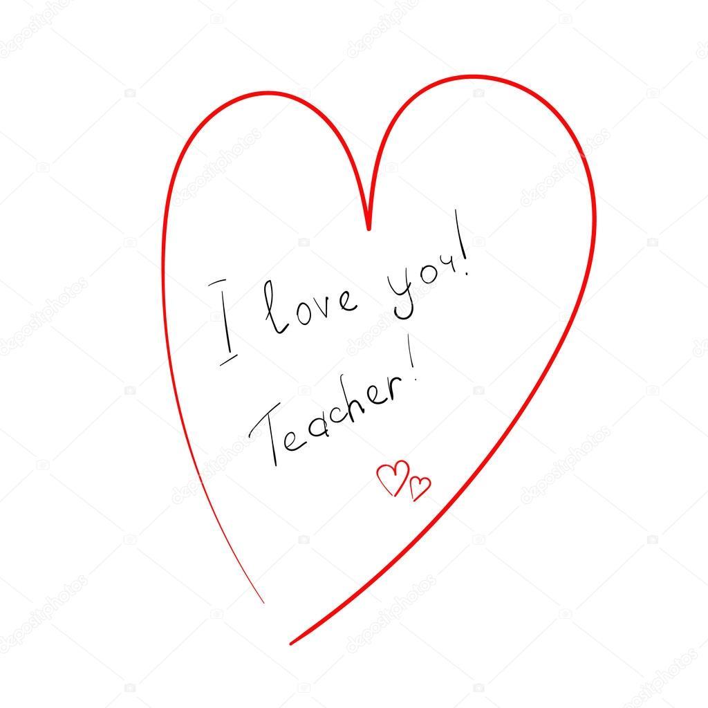 Download Inscription I love you teacher in heart — Stock Vector ...