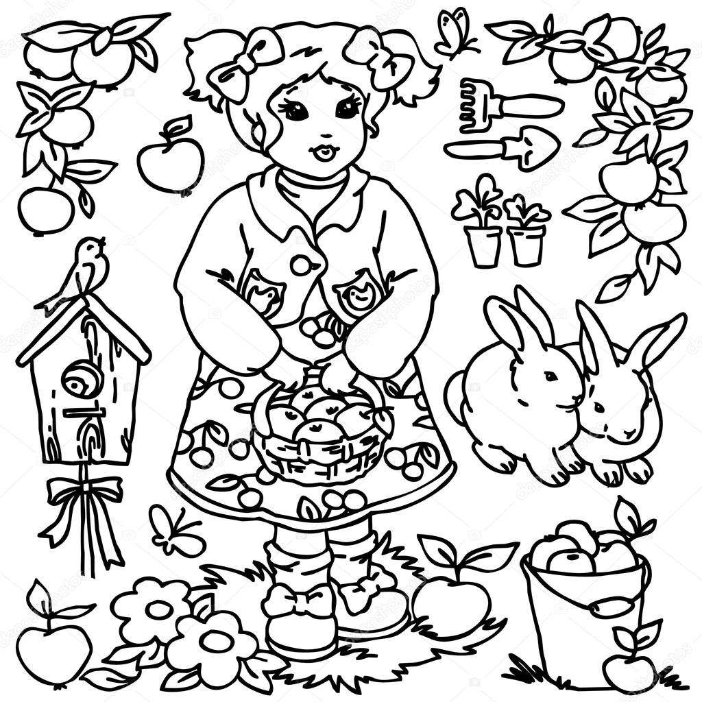 Cartoon Farm Animals Vegetables Fruits And Decoration Elements For Kid Drawing