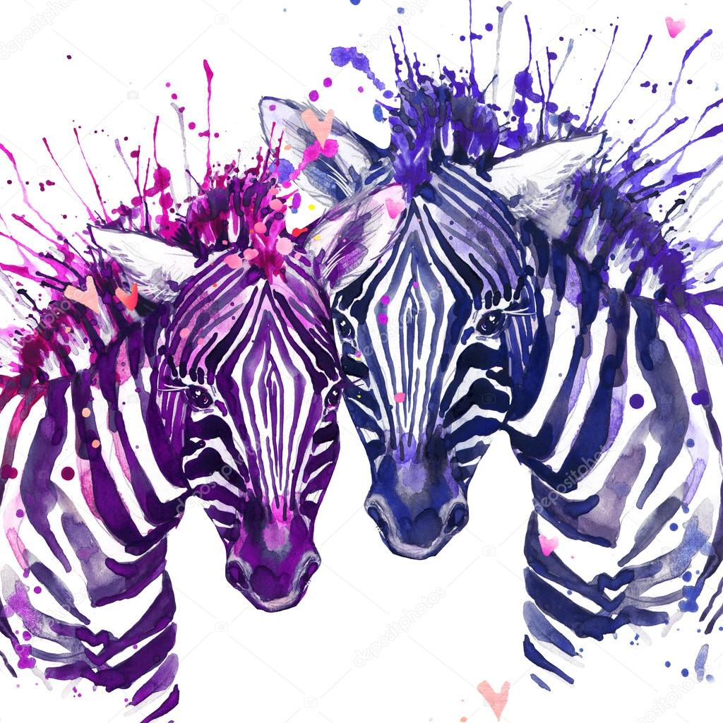 Watercolor Zebra Illustration Cute Zebra Love Card