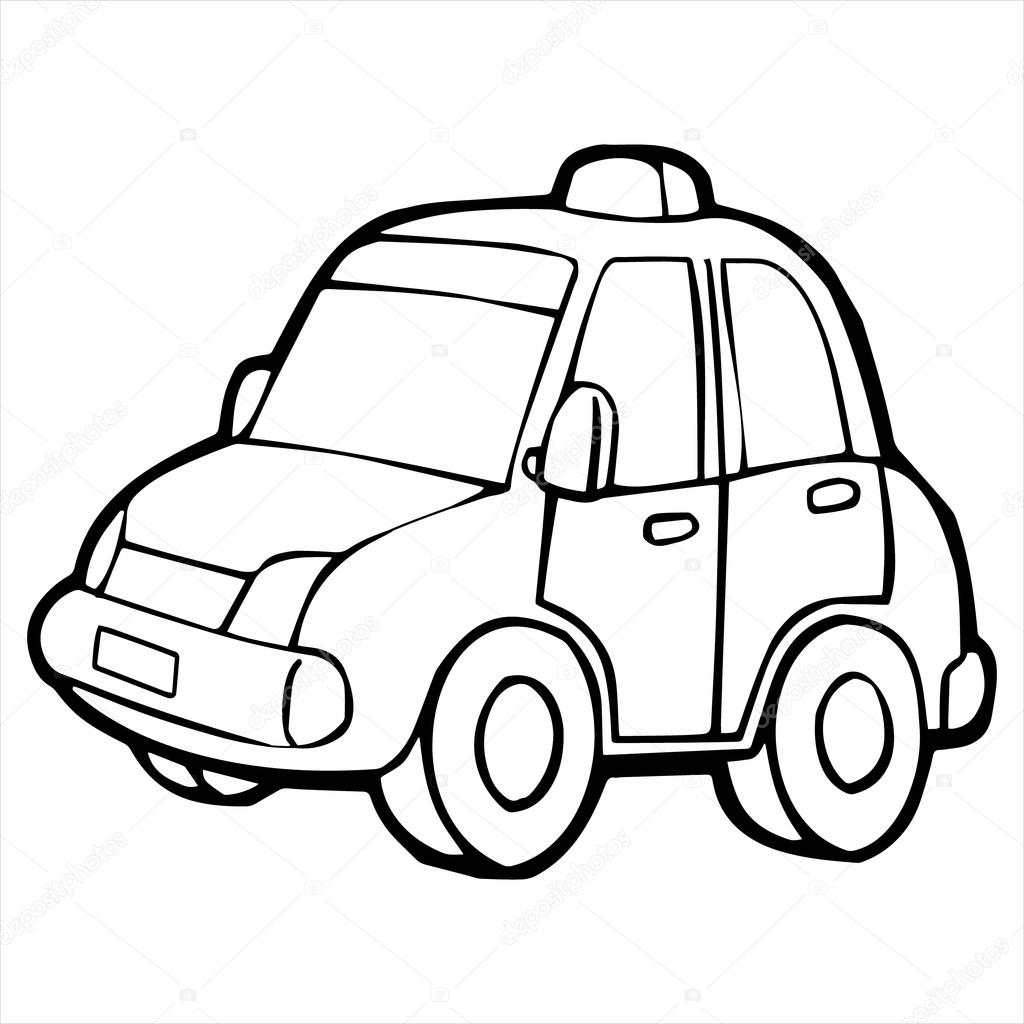 Taxi Cartoon Illustration Isolated On White