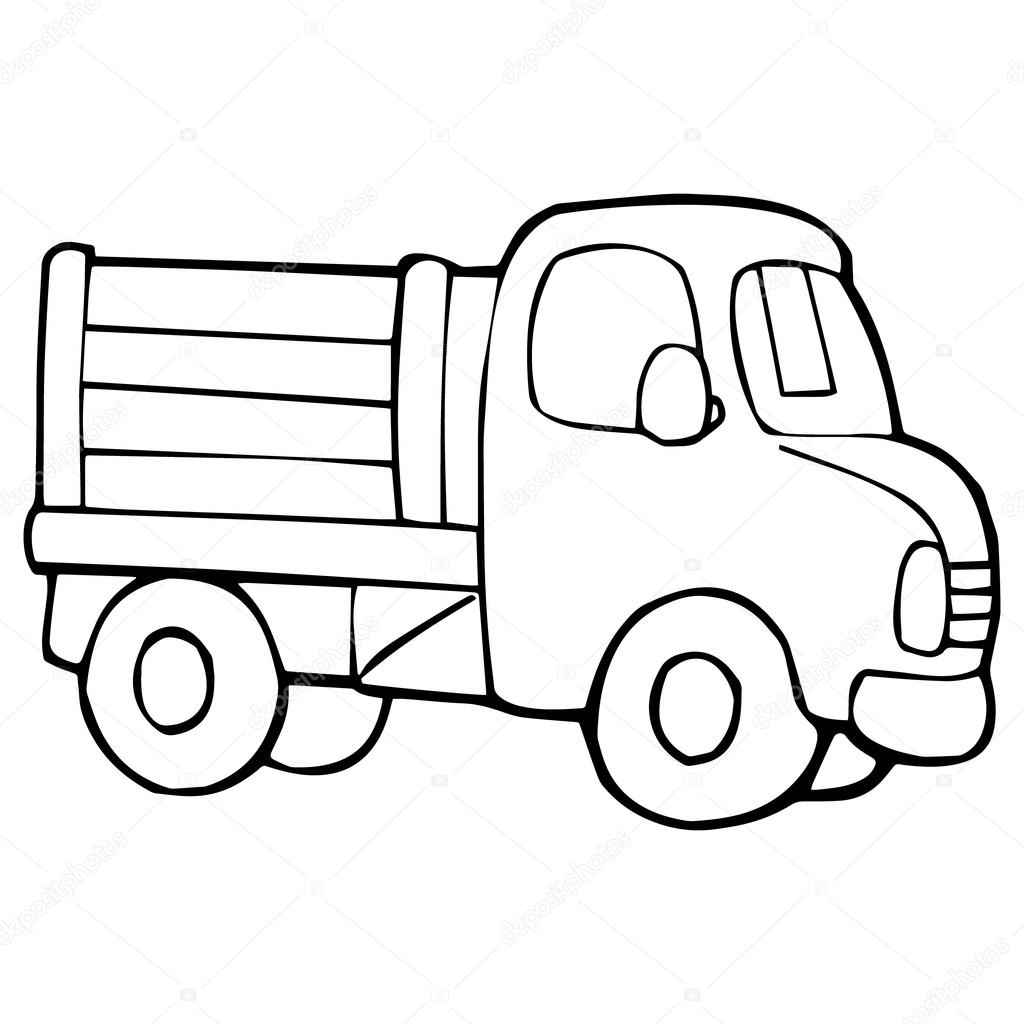 Truck Cartoon Illustration Isolated On White